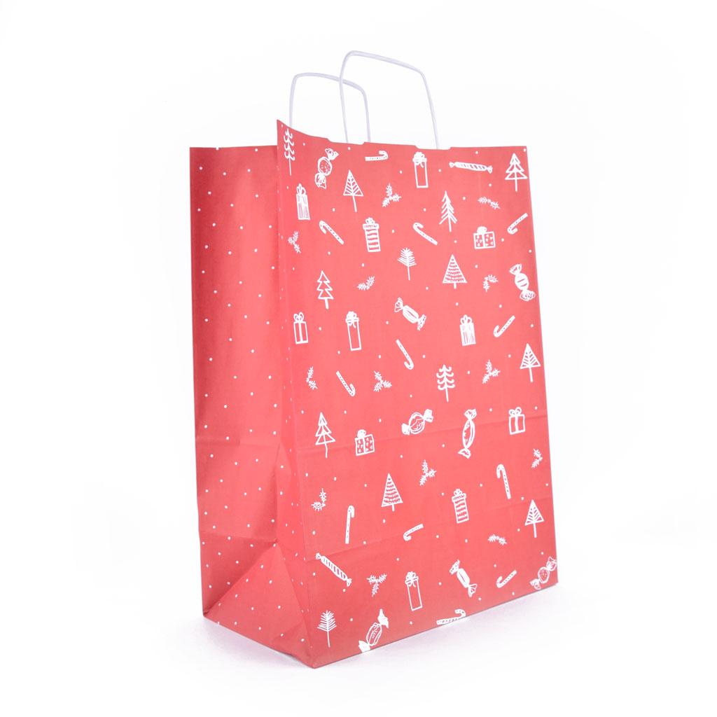 """Papierová taška s krúteným uchom """"Darčeky"""" 30,5x17x42,5 cm natur"""