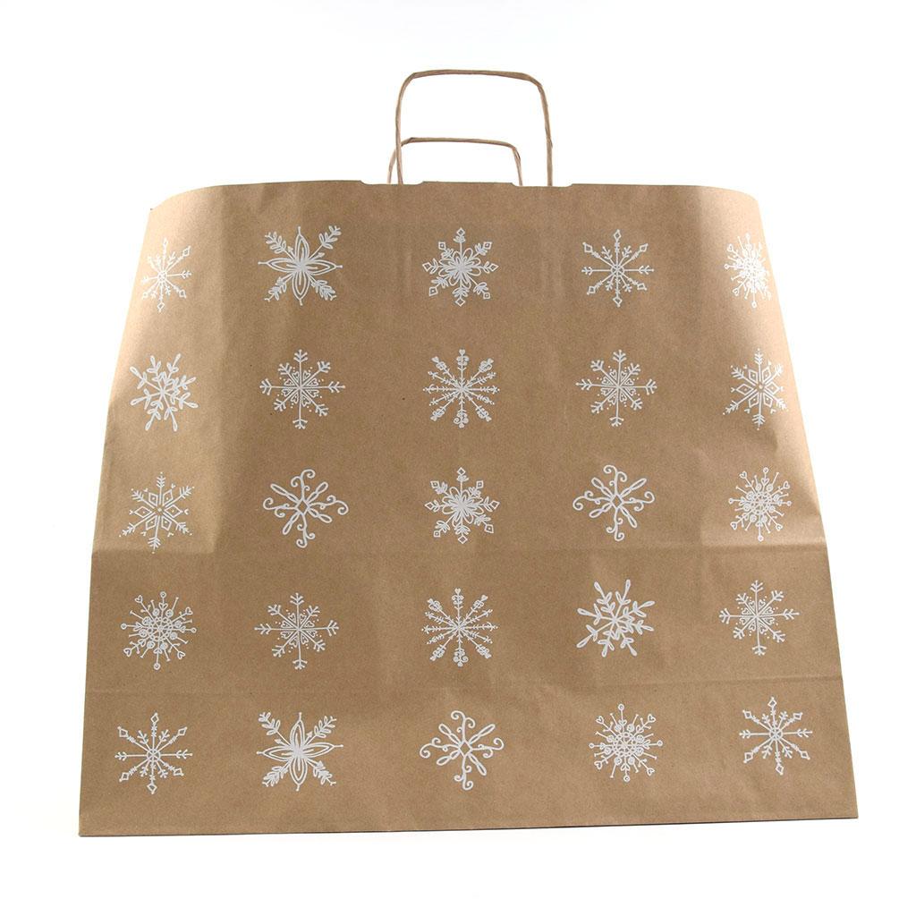 """Papierová taška s krúteným uchom """"Snehové vločky"""" 50x18x39 cm natur"""