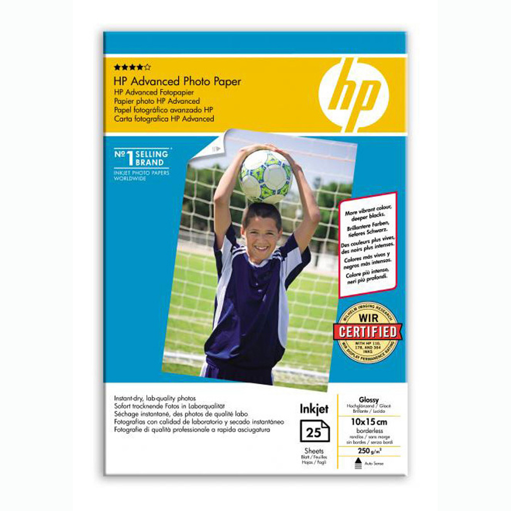 Papier HP inkjet fotopapier Advanced gloosy, 10x15cm, 250g, 25 hárkov, Q8691A
