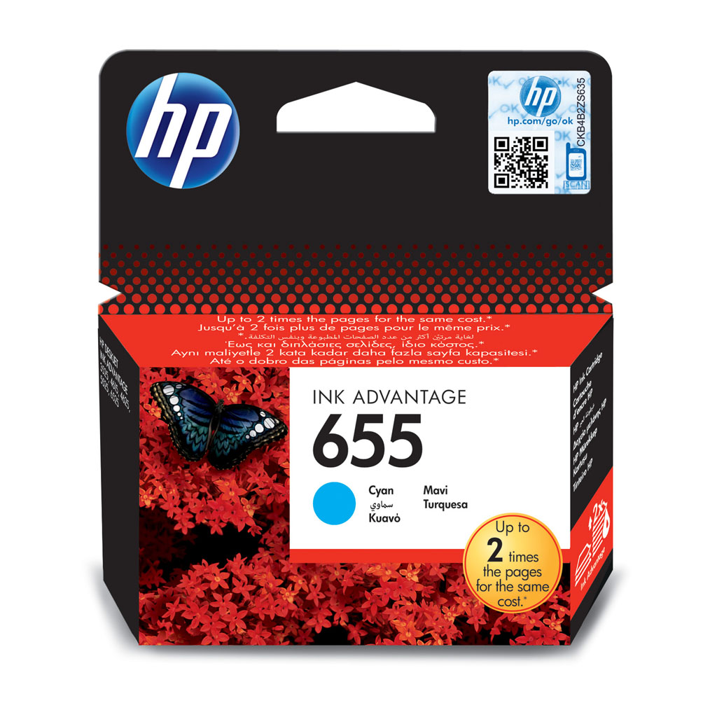 Inkjet HP CZ110AE No.655 pre DeskJet Ink Advantage 3525, 4615, 4625, 5525, 6525 (600 str.) Cyan