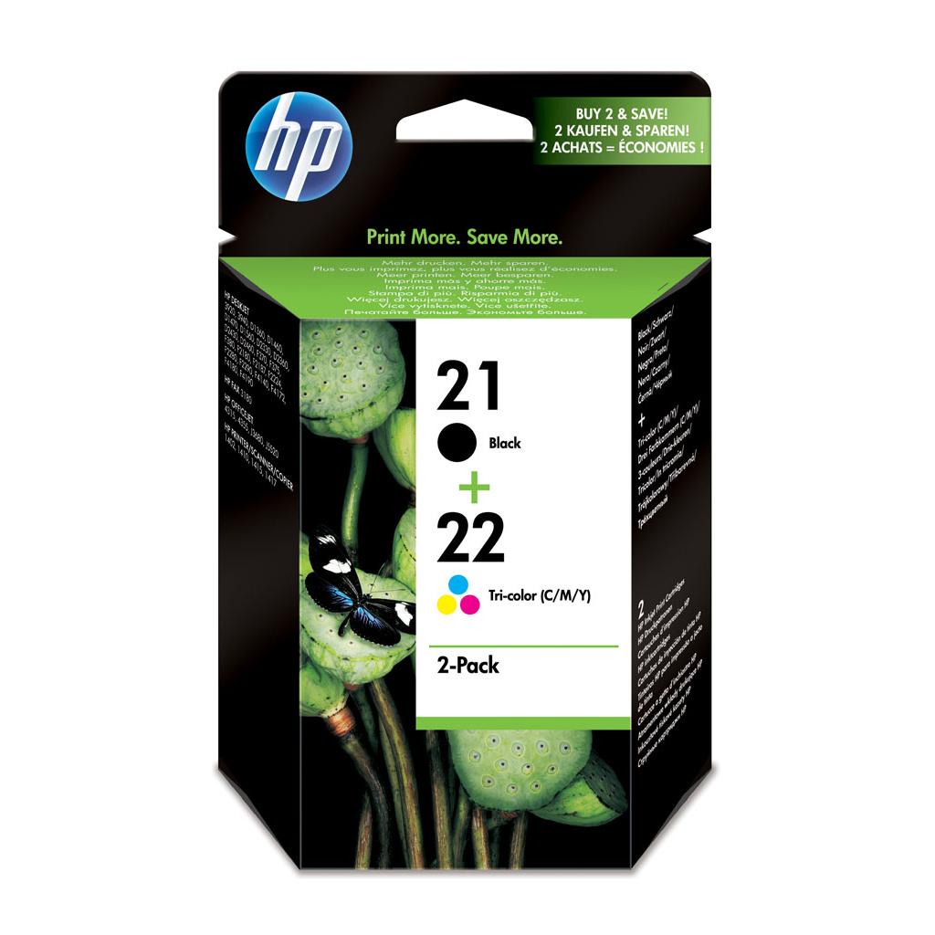 Inkjet HP SD367AE kombinované balenie: (C9351AE + C9352AE) čierny+farebný, No.21 + No.22