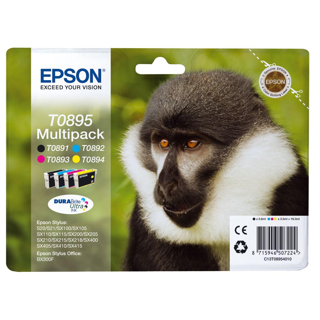 Inkjet Epson C13T089540 pre S20, SX105, SX205, SX218, SX405, BX300F (4x3,5 ml) multipack CMYK