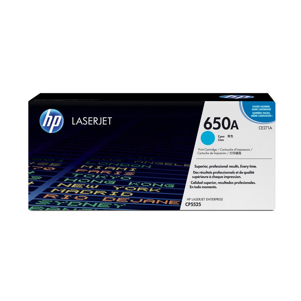 Toner HP CE271A No.650A pre HP LaserJet CP5525 (15.000 str.) Cyan