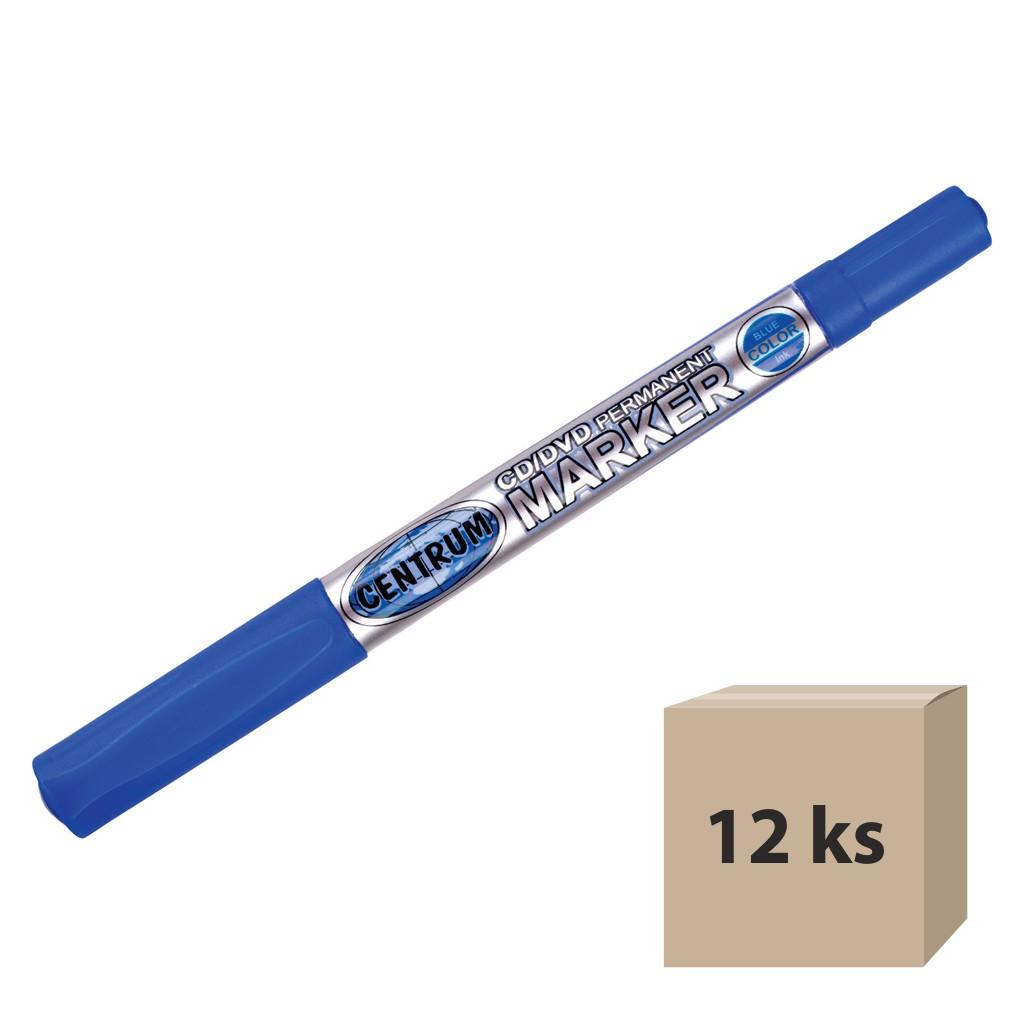Popisovač permanent na CD obojstranný, hrot 0,5 mm / 2,0 mm, modrý / 12 ks