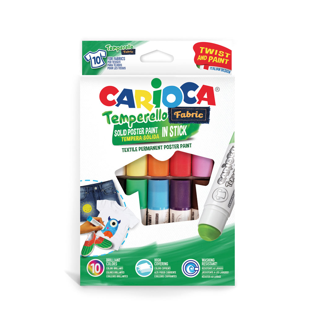 Carioca TEMPERELLO Farba v tyčinke na textil / 10 ks