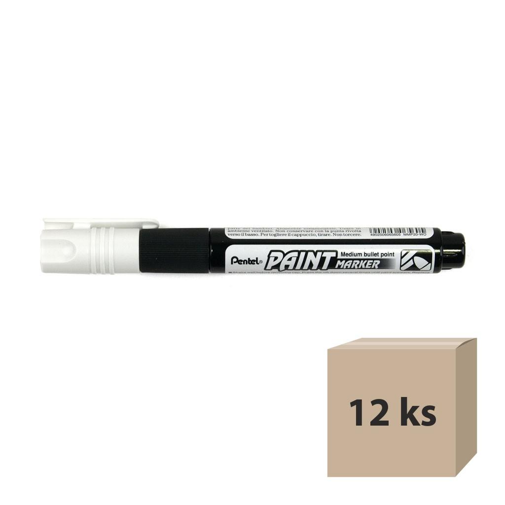 Pentel Popisovač permanent lakový MMP20-W, okrúhly hrot 4 mm, biely / 12 ks