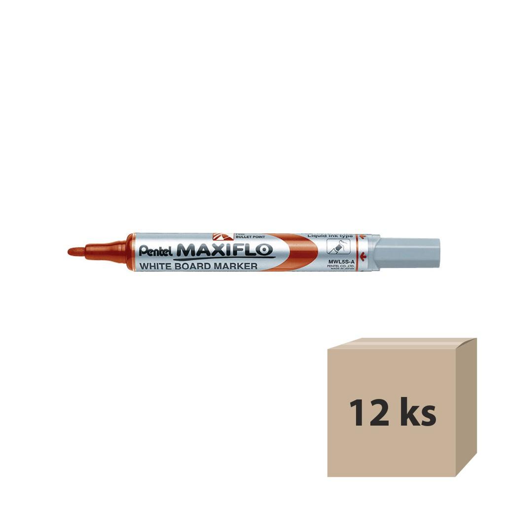 Pentel Popisovač na biele tabule Maxiflo MWL5S-B, okrúhly hrot 4 mm, červený / 12 ks