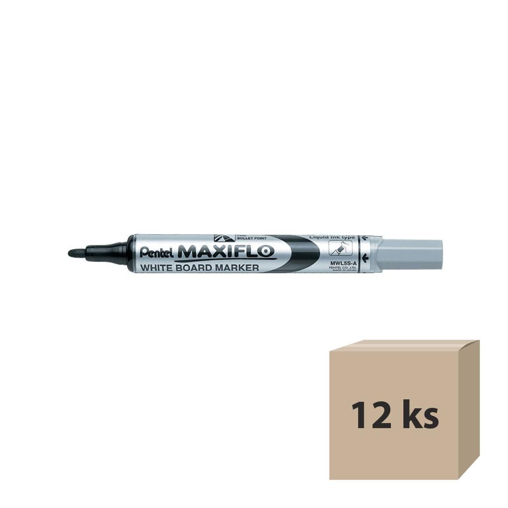 Pentel Popisovač na biele tabule Maxiflo MWL5S-A, okrúhly hrot 4 mm, čierny / 12 ks