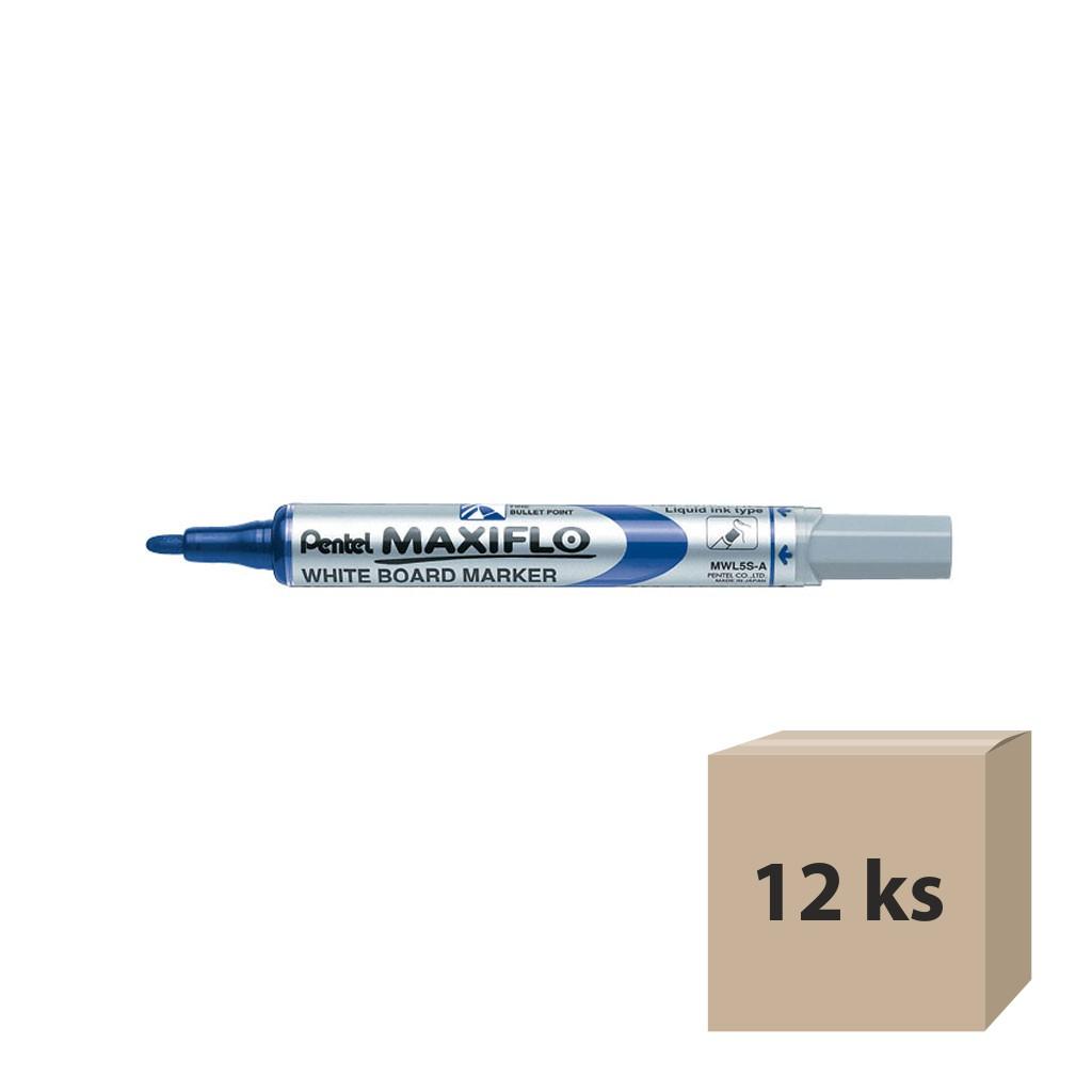 Pentel Popisovač na biele tabule Maxiflo MWL5S-C, okrúhly hrot 4 mm, modrý / 12 ks
