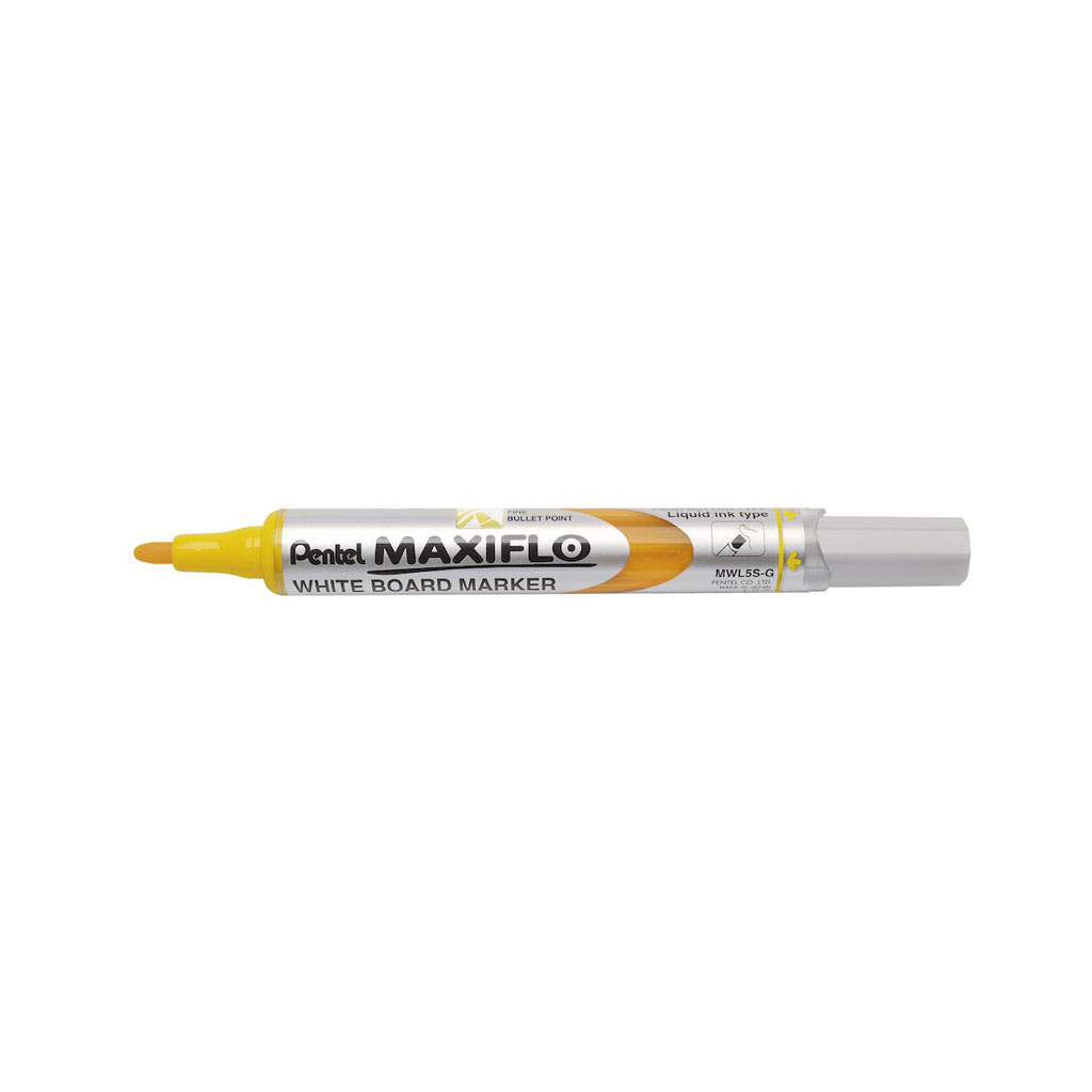 Pentel Popisovač na biele tabule Maxiflo MWL5S-G, okrúhly hrot 4 mm, žltý