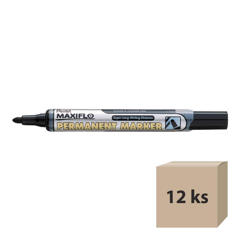 Pentel Popisovač permanent Maxiflo NLF50-A, okrúhly hrot 4,5 mm, čierny / 12 ks