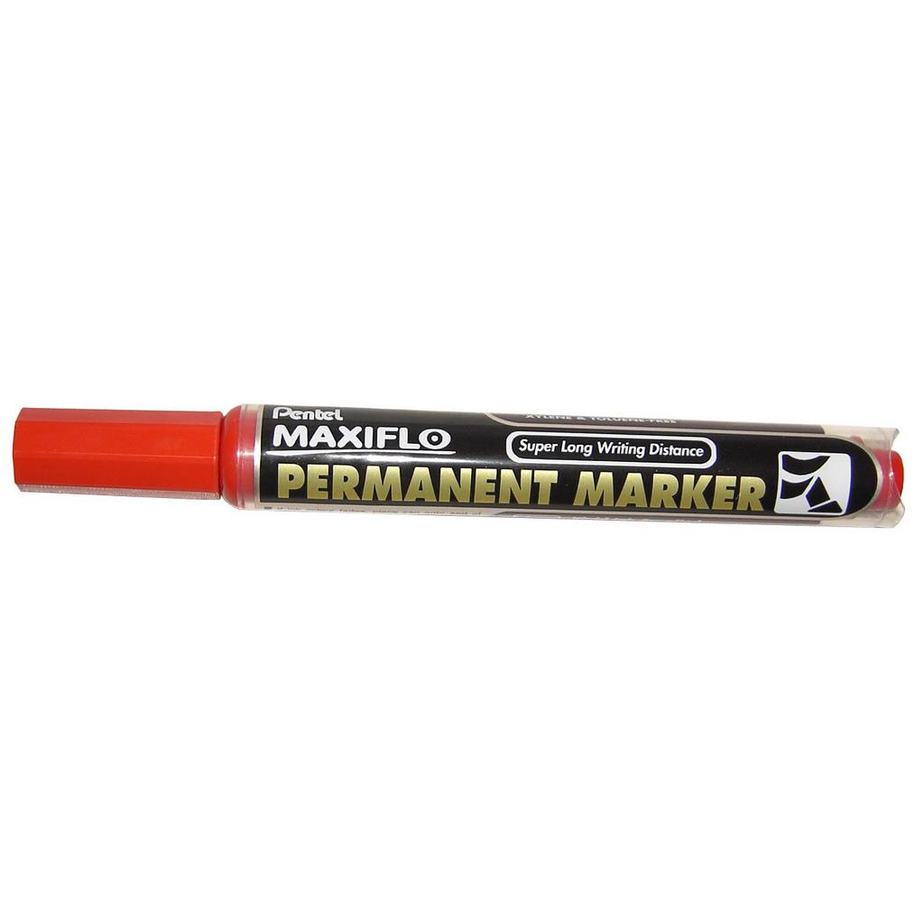 Pentel Popisovač permanent Maxiflo NLF60-B, zrezaný hrot 2-4,5 mm, červený