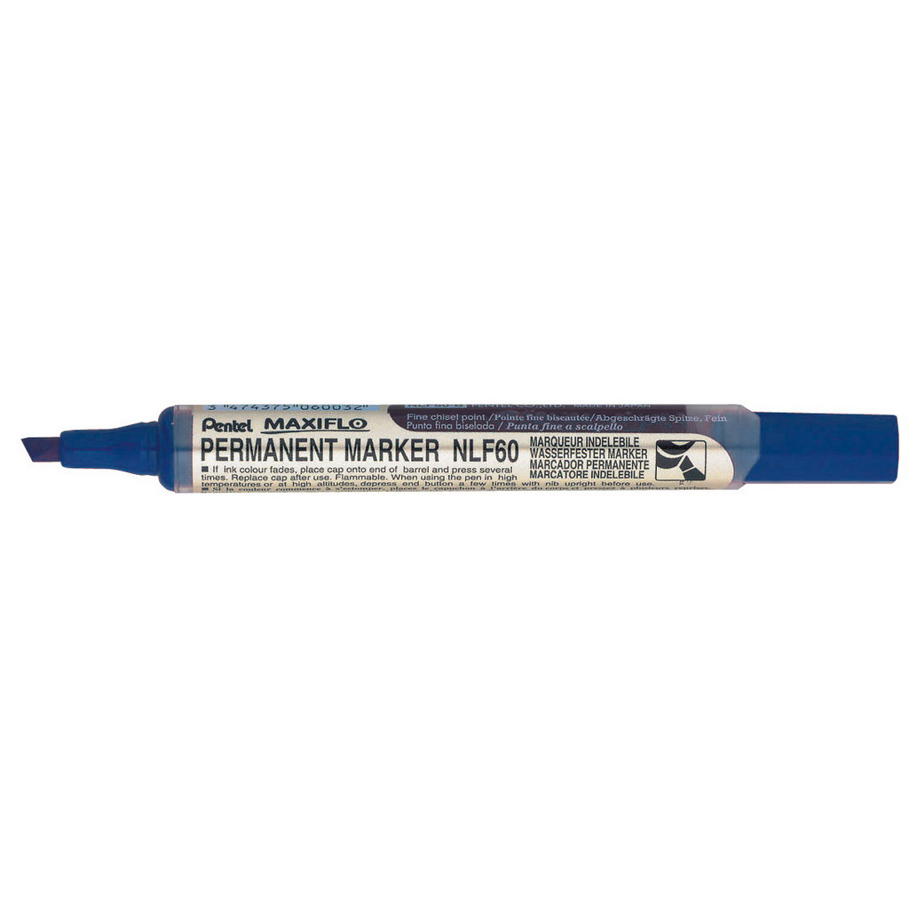 Pentel Popisovač permanent Maxiflo NLF60-C, zrezaný hrot 2-4,5 mm, modrý