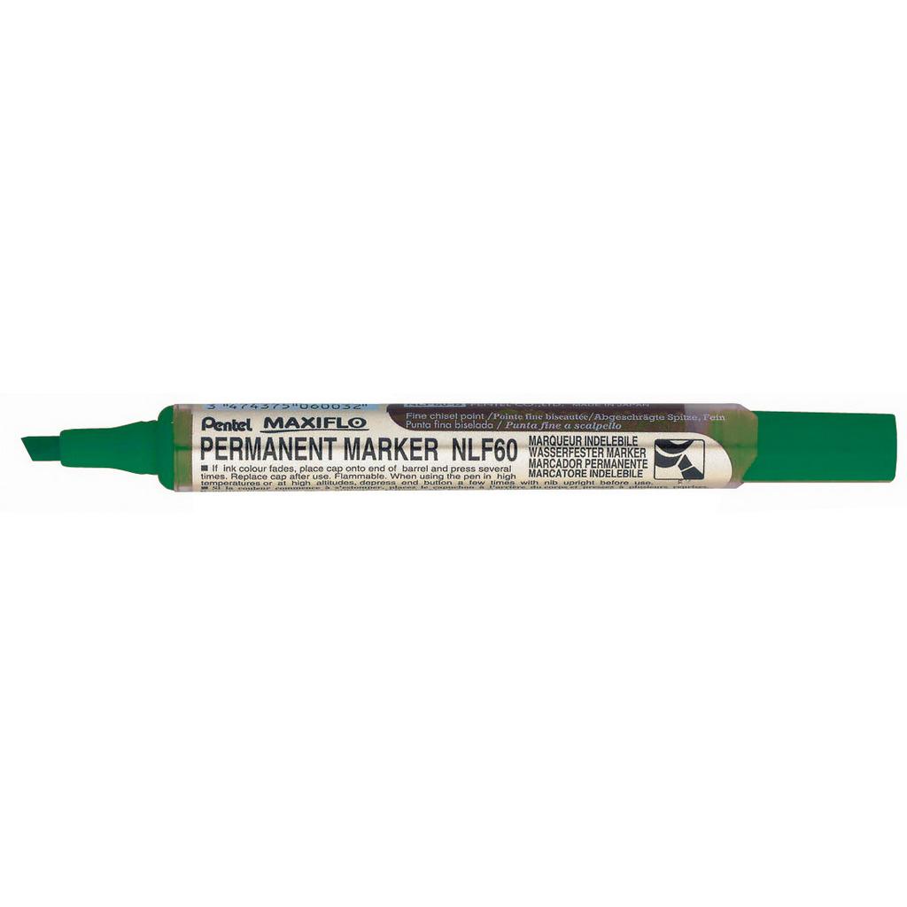 Pentel Popisovač permanent Maxiflo NLF60-D, zrezaný hrot 2-4,5 mm, zelený