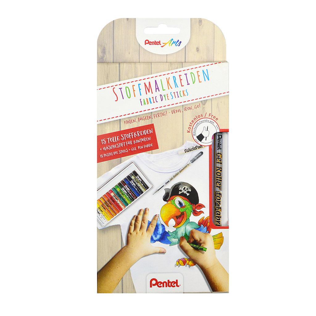 Pentel Arts Pastely na textil / 15 ks + roller na textil