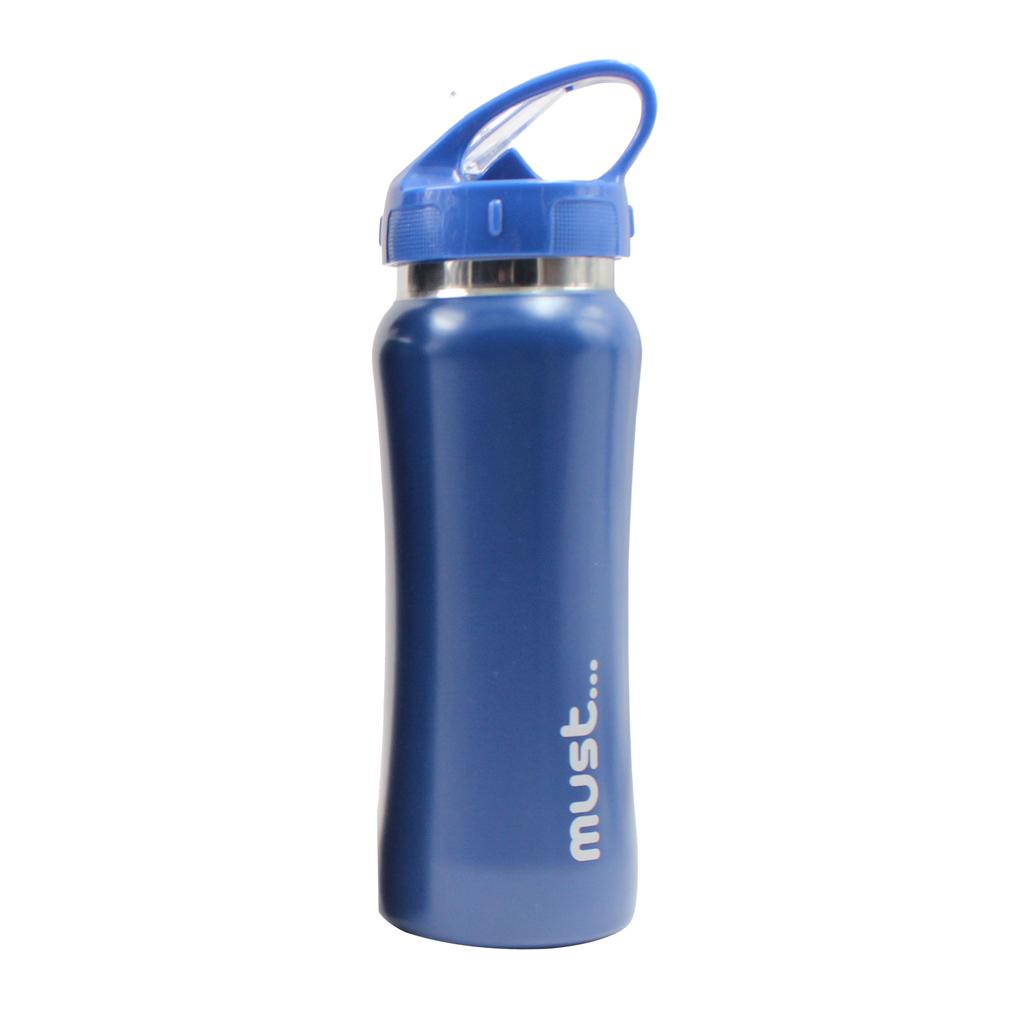 Fľaša so slamkou, kov, 500 ml, matné farby
