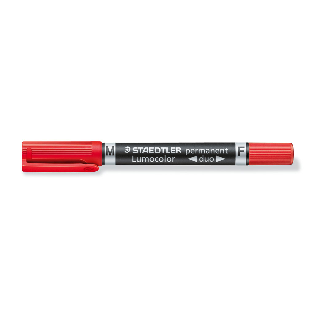 Staedtler Popisovač permanent obojstranný 348-2, hrot F 0,6 mm / M 1,5 mm, červený