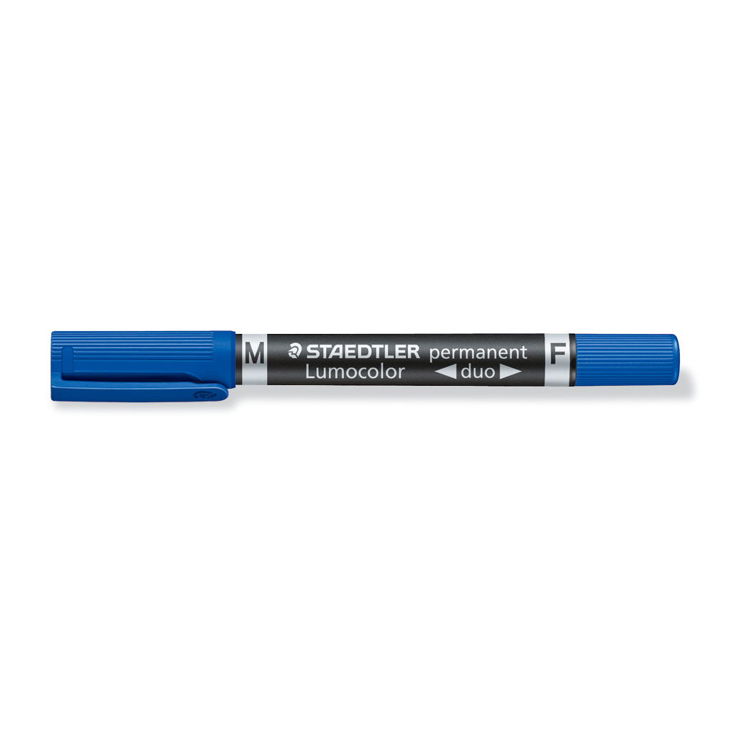Staedtler Popisovač permanent obojstranný 348-3, hrot F 0,6 mm / M 1,5 mm, modrý