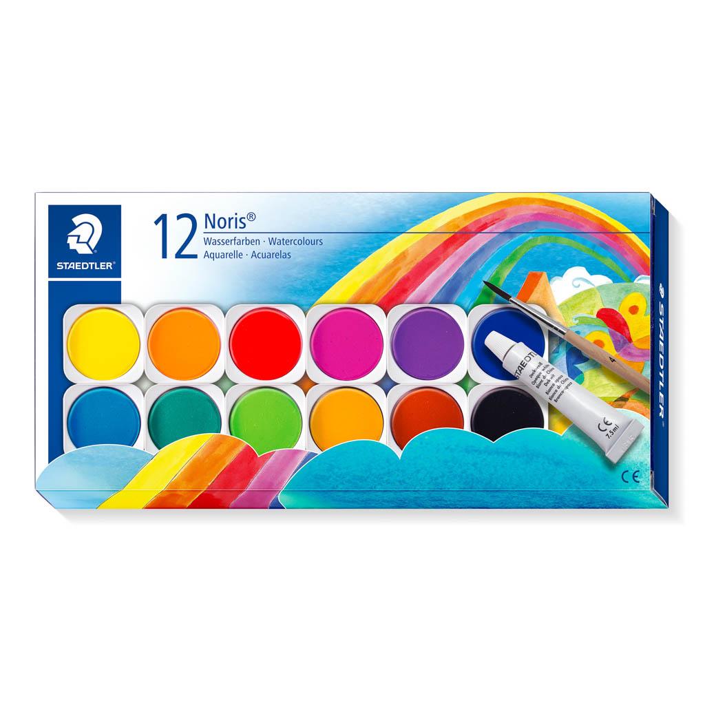 Staedtler Vodové farby / 12 ks + štetec, priemer 30 mm