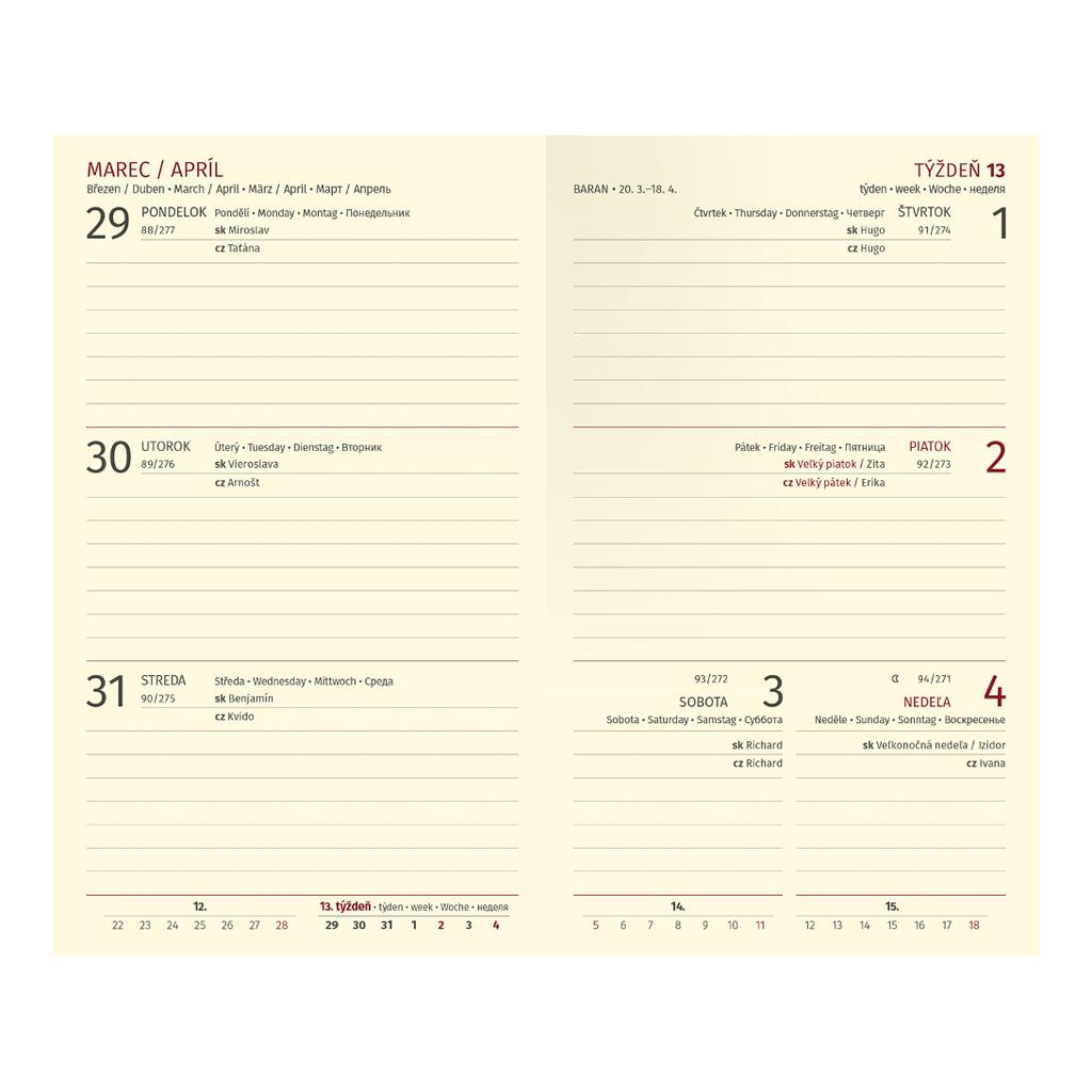 Vreck. diár TRENDY červený 2021 (90x150 mm)