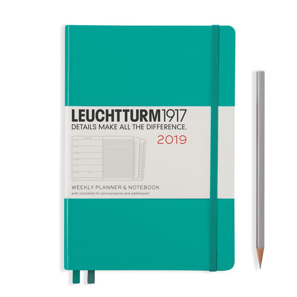 LT Týžd. diár + pozn. 2019, tm. zelený (A5)