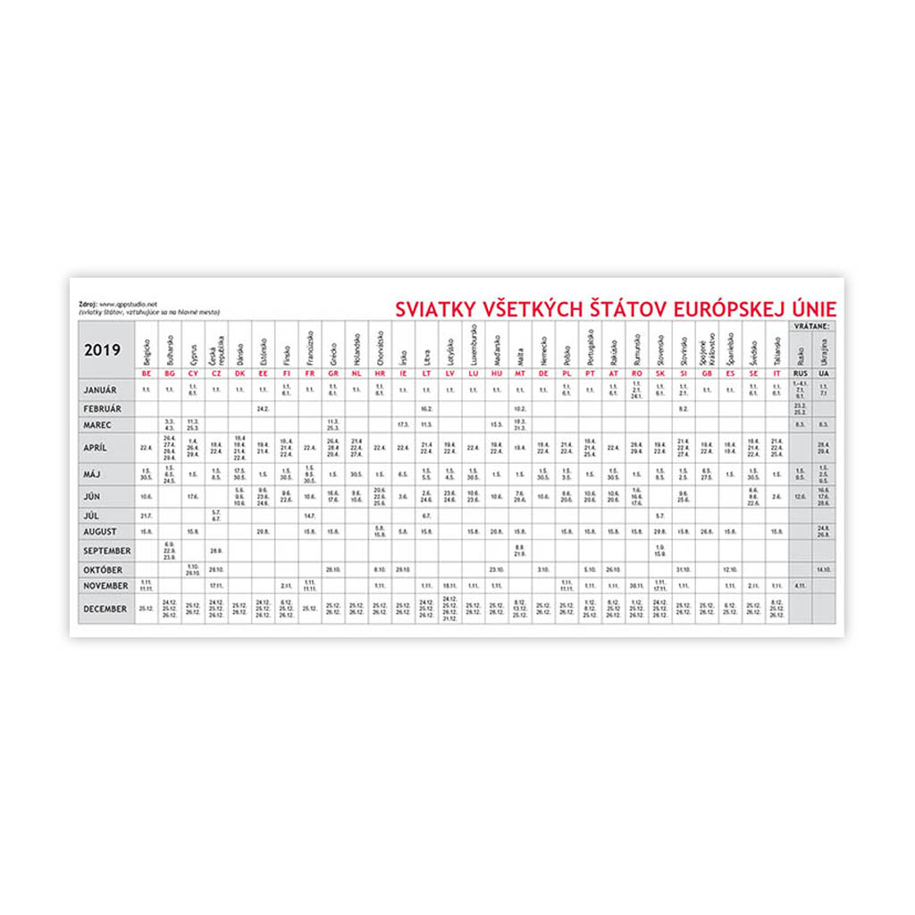 Plánovací kalendár 2019 / S28 (297x138 mm)