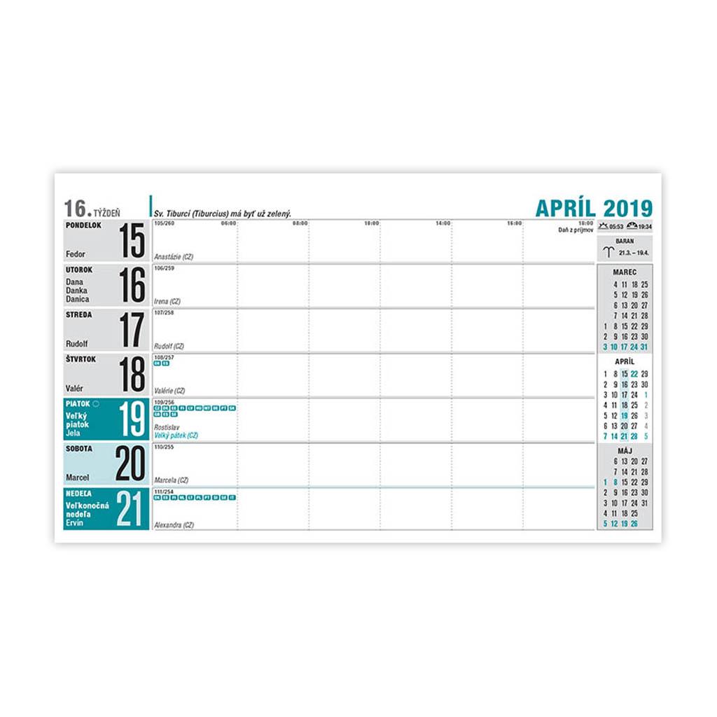 Pracovný kalendár riadkový 2019 / S30 (230x140 mm)