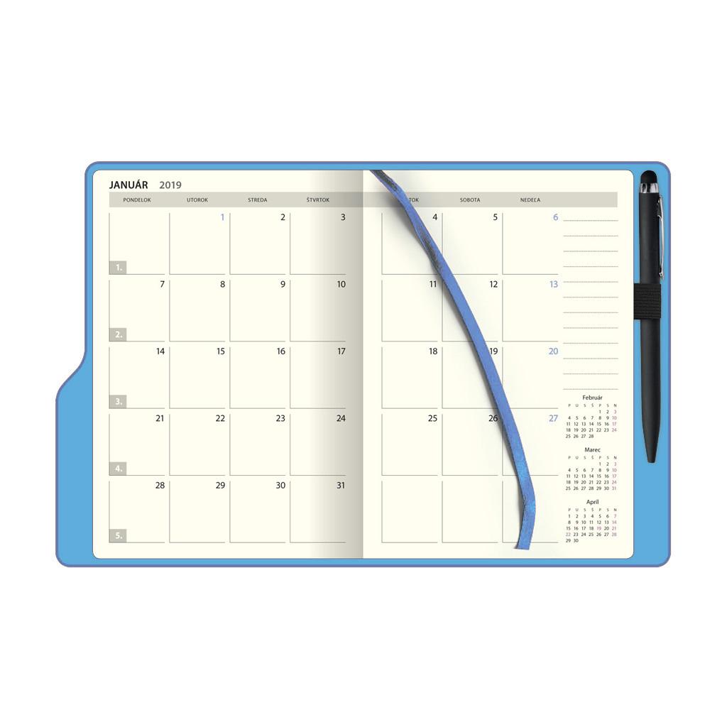 Týžd. diár SMART Timer, modrý 2019 / D66 (142x204 mm)