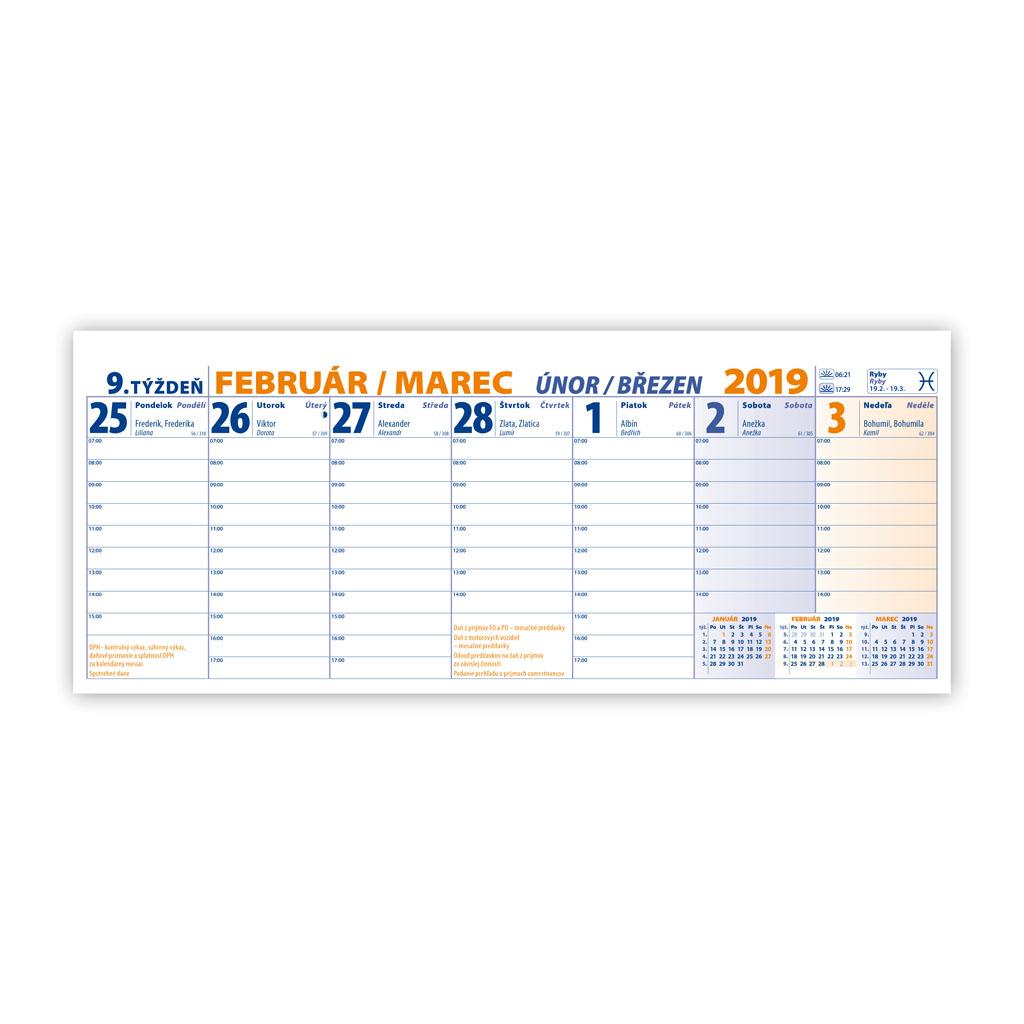 Pracovný kalendár veľký 2019 SK (300x120 mm), stĺpcový