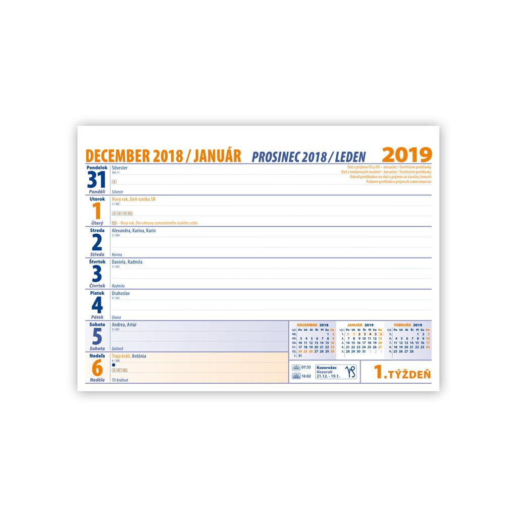 Pracovný kalendár malý 2019 SK (210x150 mm), riadkový