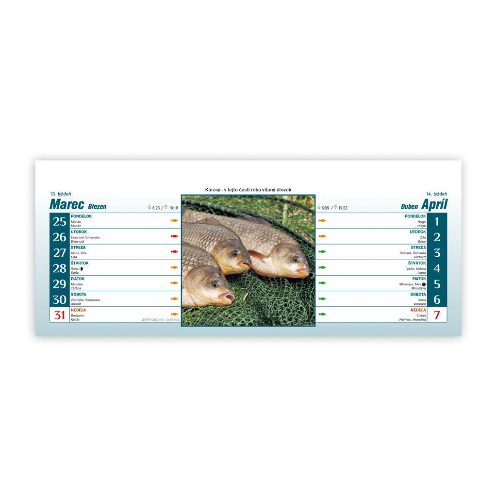 Rybársky kalendár 2019 SK (300x120 mm), riadkový - 2 týžd.