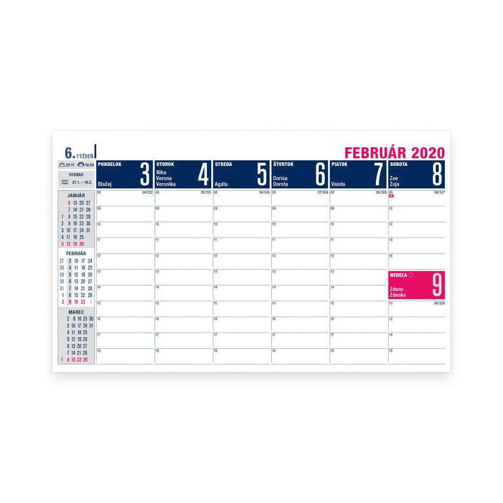 Pracovný kalendár stĺpcový 2020 / S31 (230x140 mm)