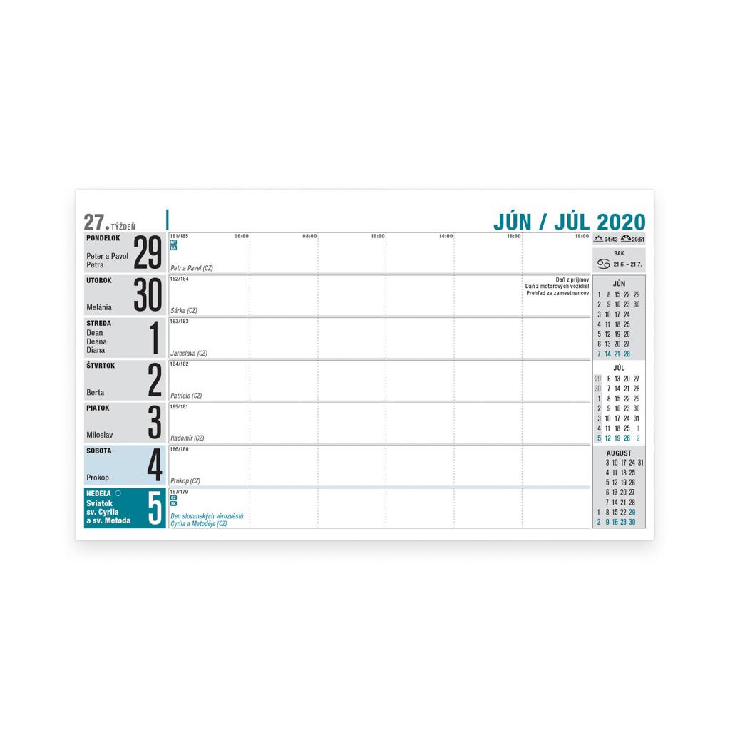Pracovný kalendár riadkový 2020 / S32 (230x140 mm)