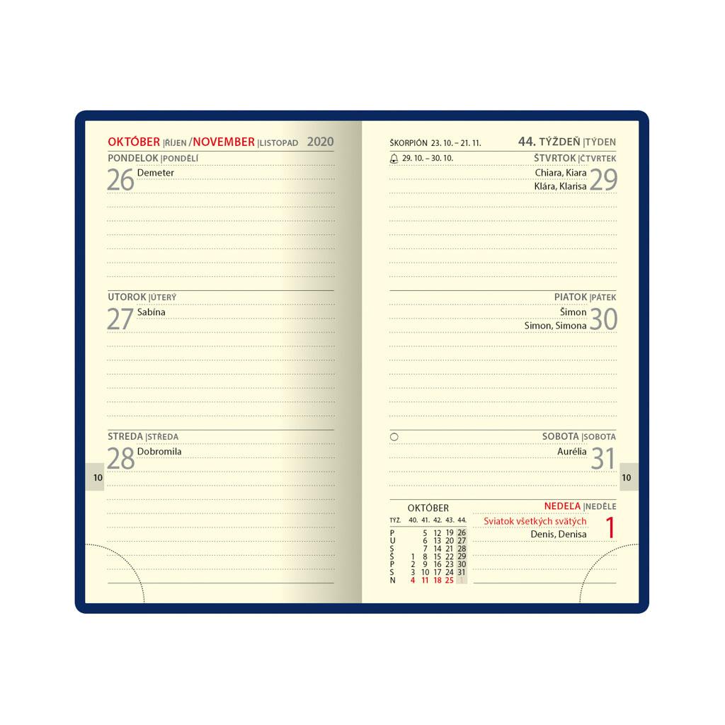 Minidiár NEAPOL modrý 2020 / D68 (80x140 mm)