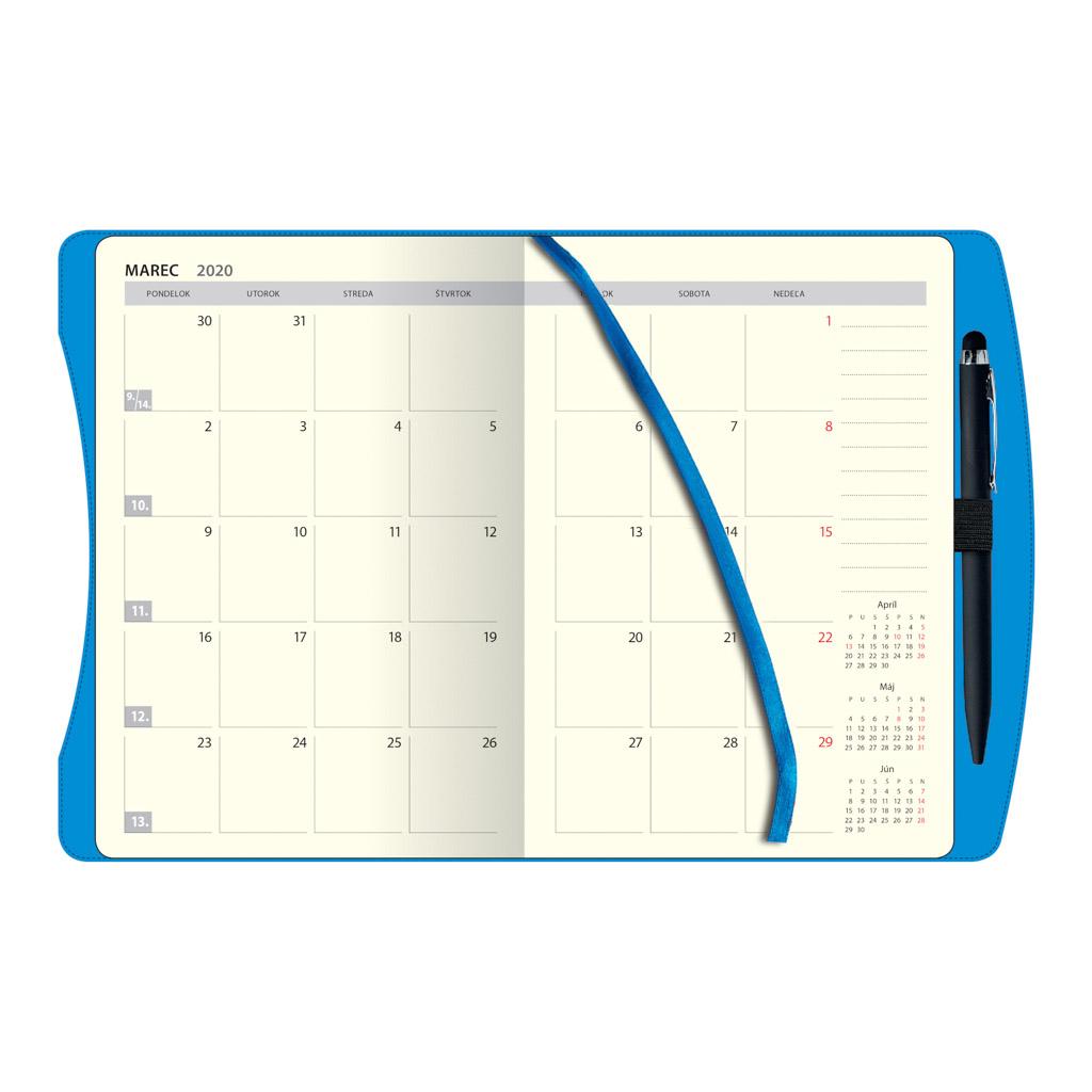 Týžd. diár SMART Timer, modrý 2020 / D80 (138x205 mm)