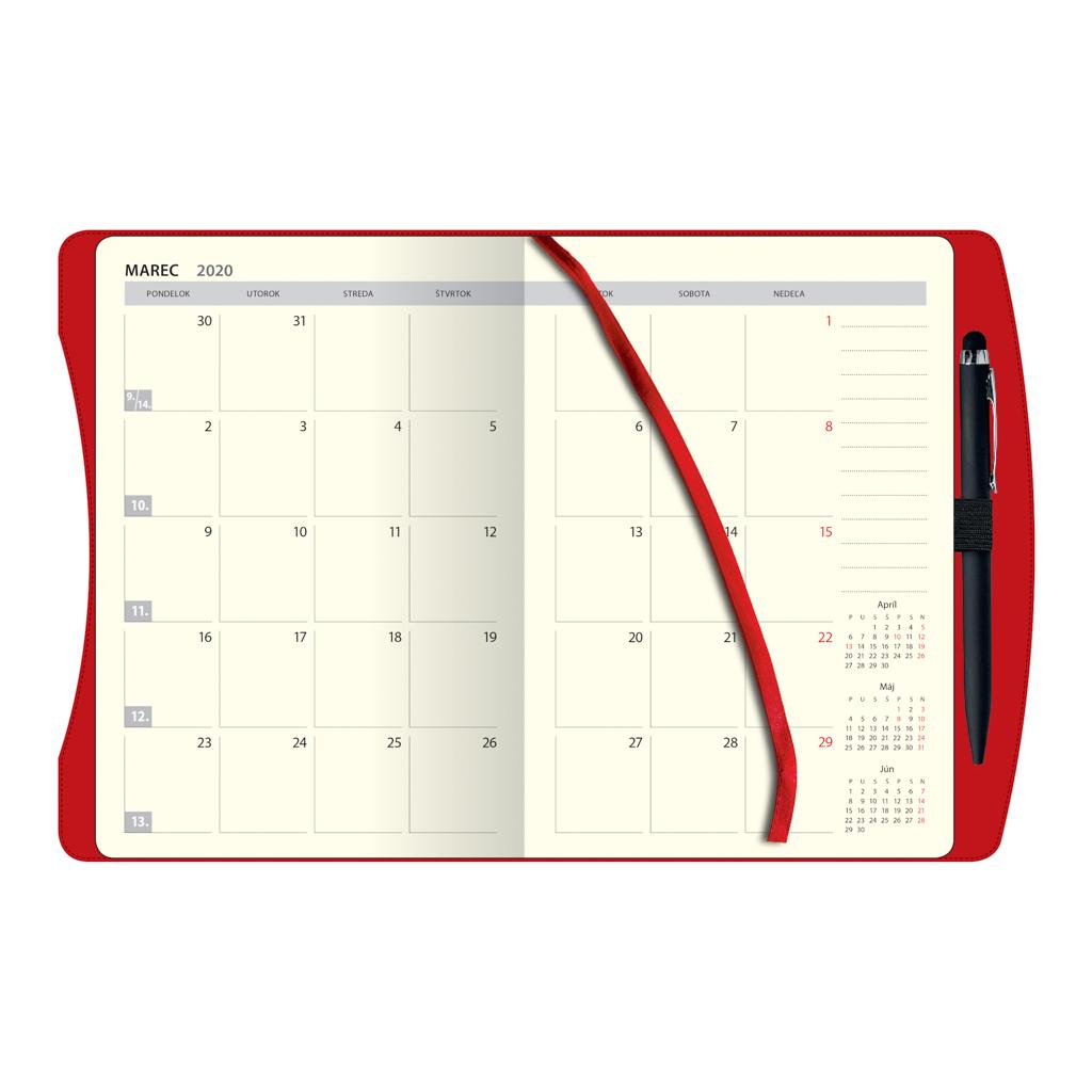 Týžd. diár SMART Timer, červený 2020 / D81 (138x205 mm)