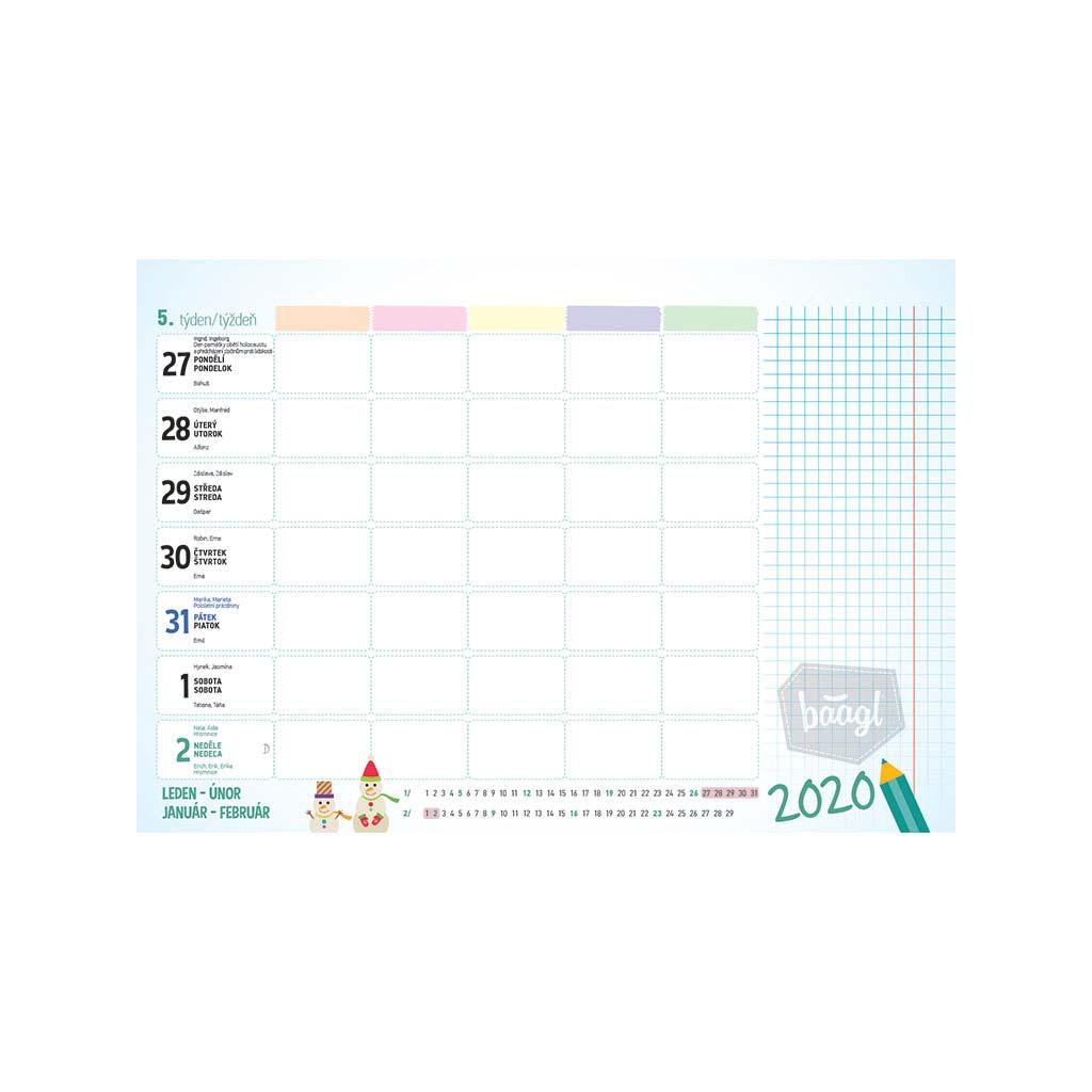 Plánovací kalendár školský CZ/SK 2020 (300x210 mm)