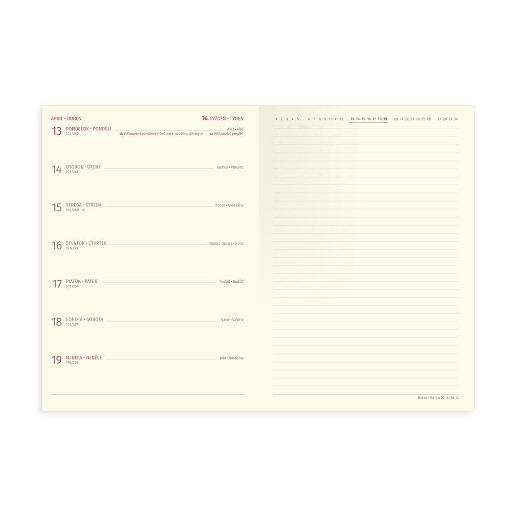 Týžd. pozn. diár TRENDY červený 2020 / A5 (148x210 mm)