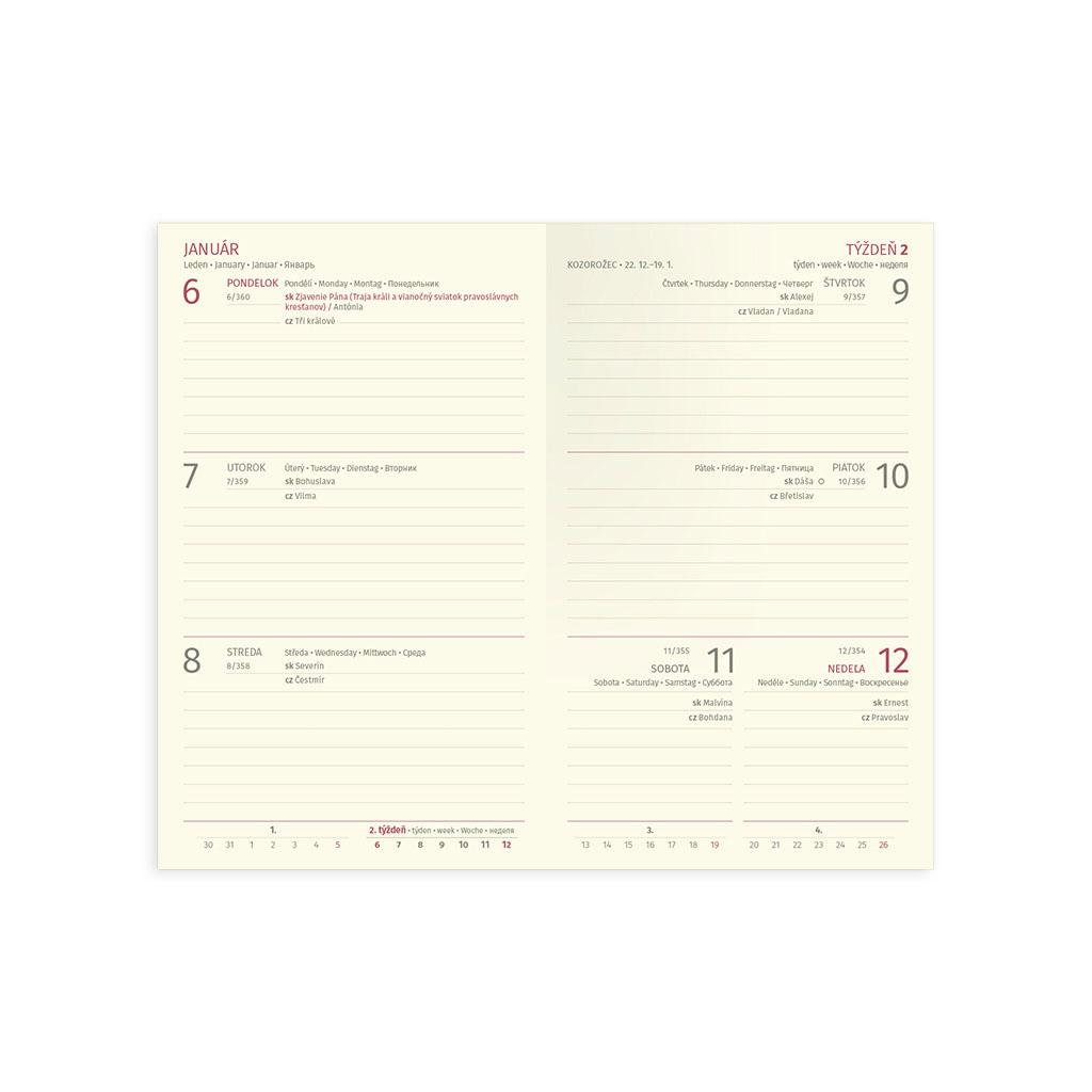 Vreck. diár TRENDY červený 2020 (90x150 mm)
