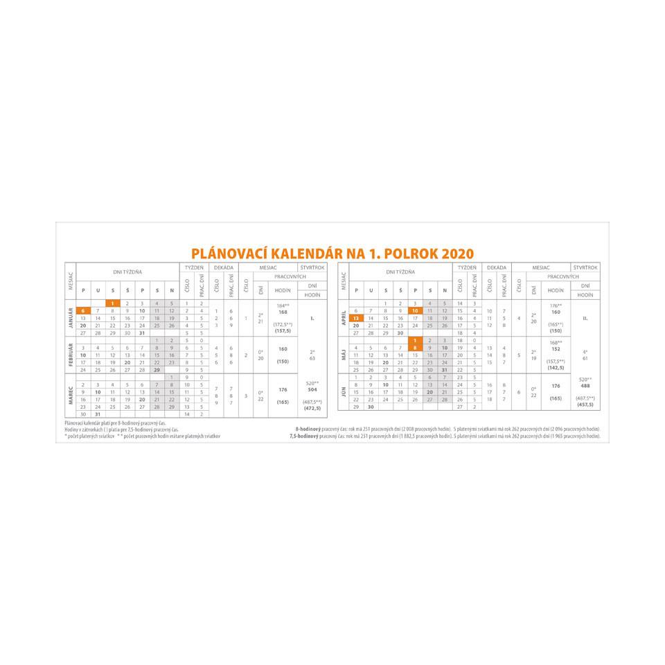 Pracovný kalendár veľký 2020 SK (300x120 mm), stĺpcový