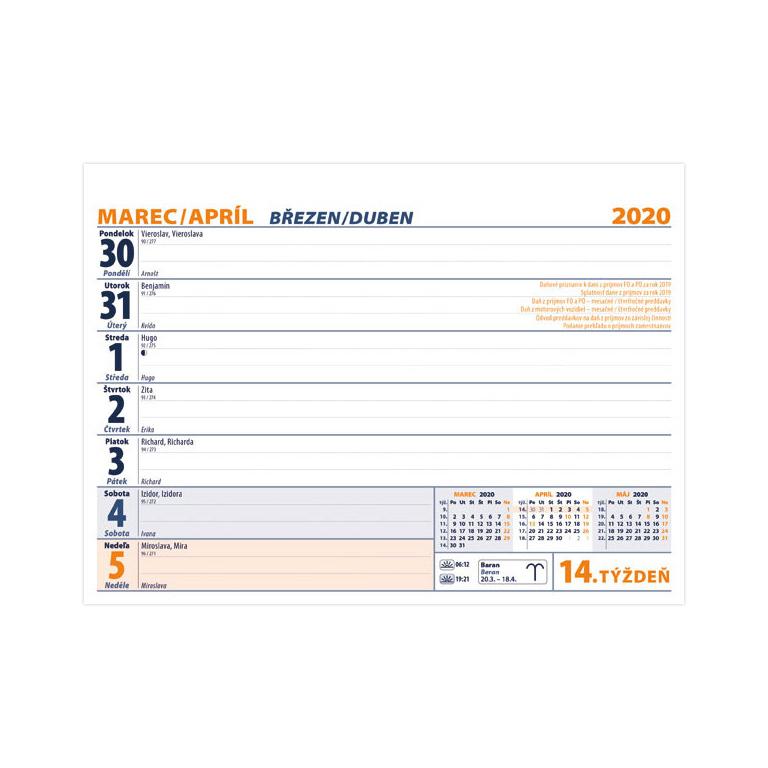 Pracovný kalendár malý 2020 SK (210x150 mm), riadkový