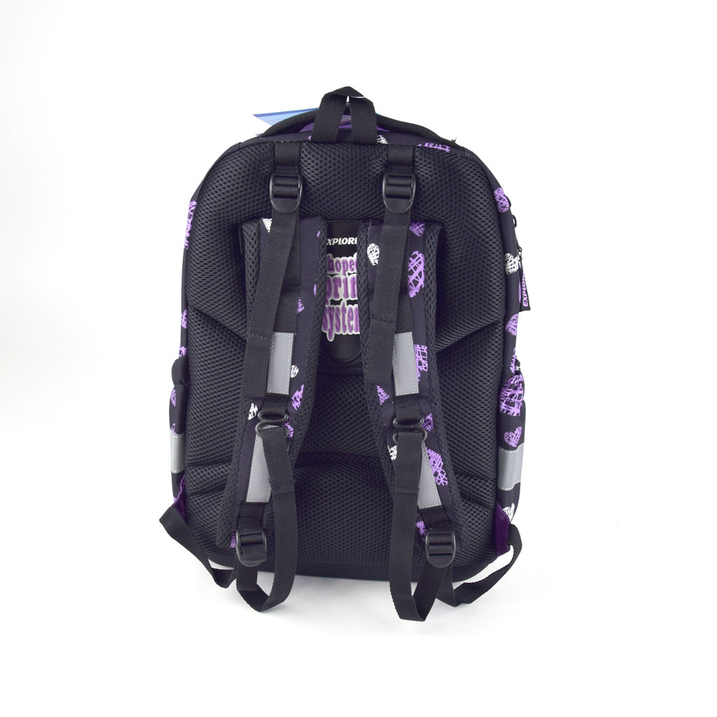 Batoh Explore BAG - Girls, Purple & White hearts on black