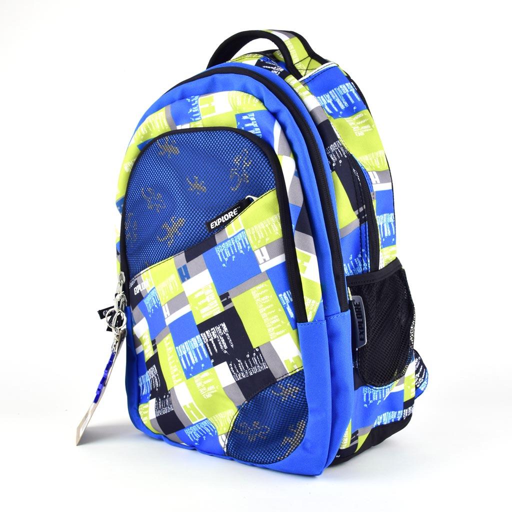 Batoh Explore 2 v 1 - Boys, Yellow Blue Plaid
