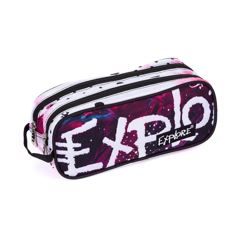 Peračník Explore 2 zip. prázd. - etue - oválne, Girls, Pink