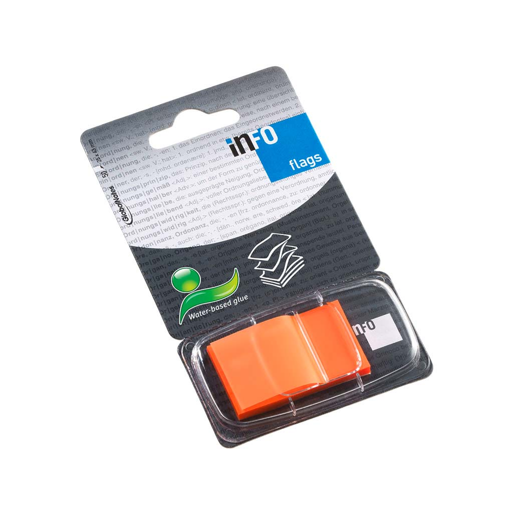 Samolepiace záložky, 25x43mm, 50 listov - oranžové