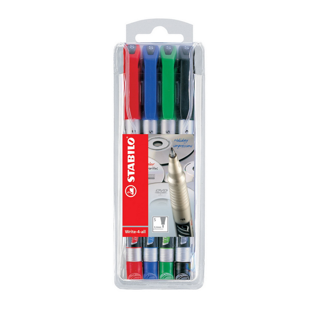 Stabilo Popisovač permanent Write-4-all 166/4, hrot 0,4 mm / 4 ks