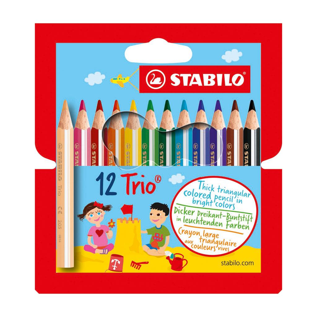 Stabilo Farbičky trojhranné Trio thick 205/12-01 krátke / 12 ks