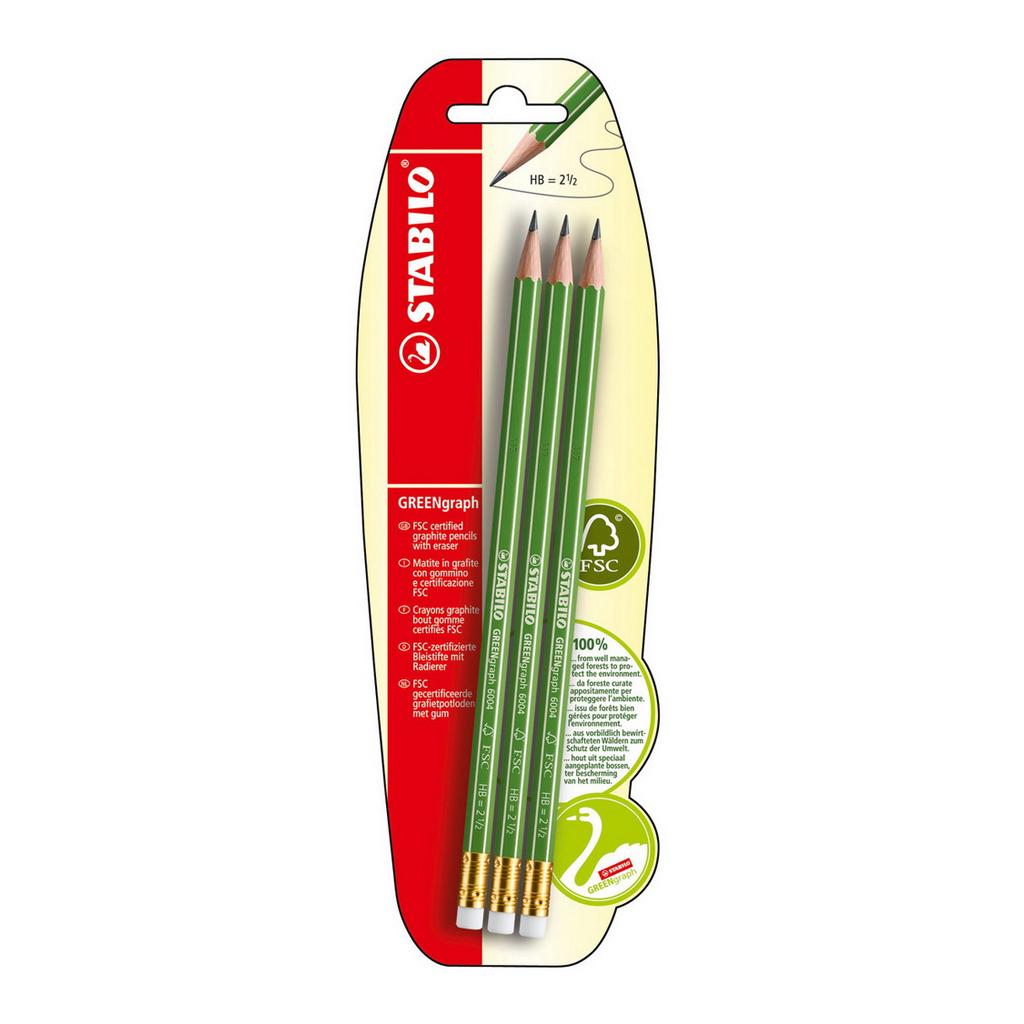 Stabilo ceruzka šesťhranná GREENgraph HB s gumou / 3 ks