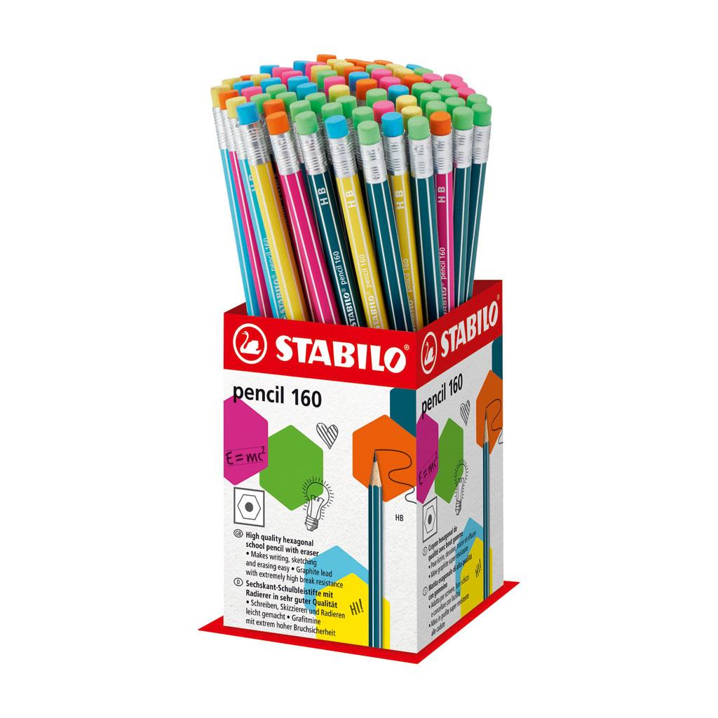 Stabilo ceruzka šesťhranná HB s gumou, mix farieb