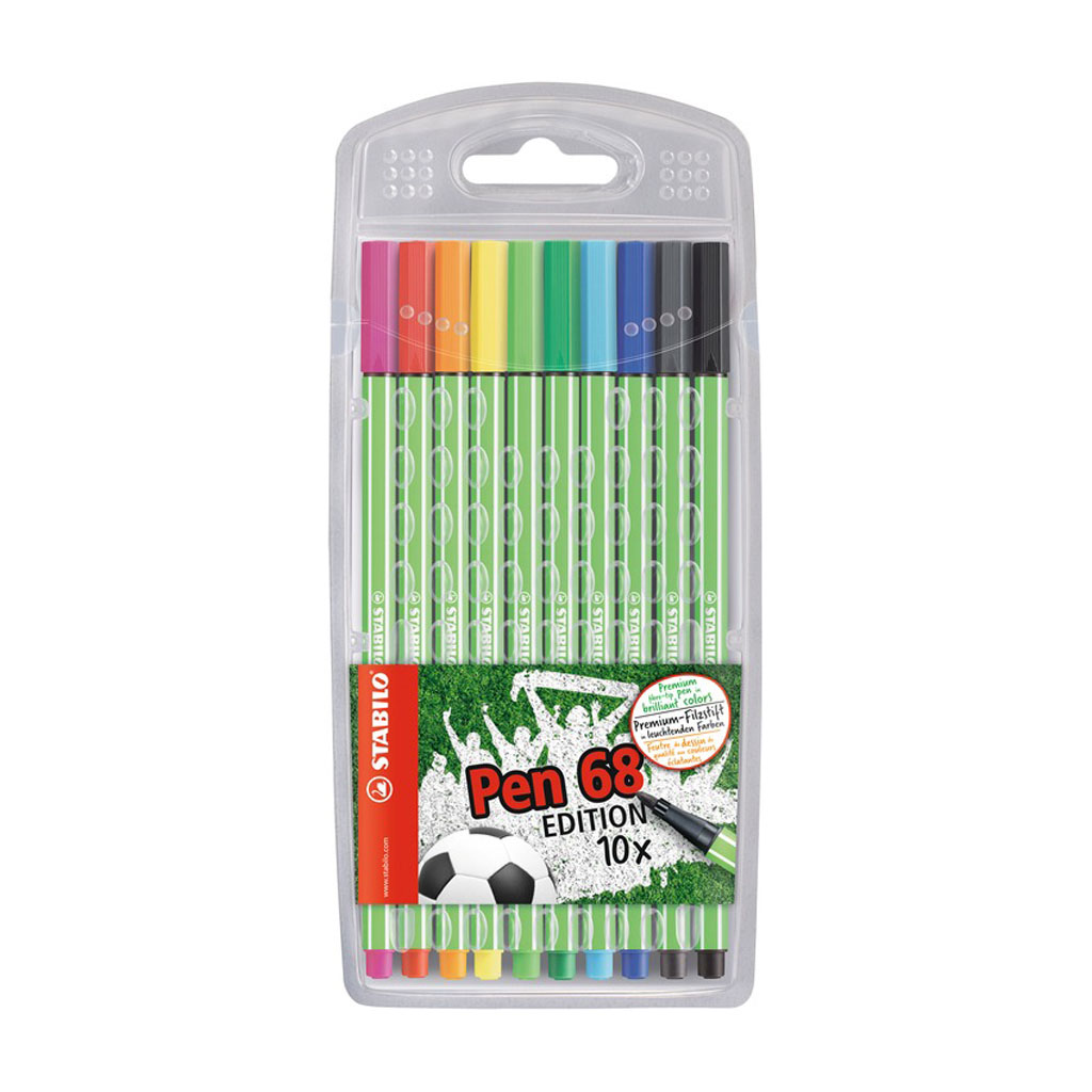 Stabilo Pen 68 fixka, Green Edition, plast. púzdro / 10 ks